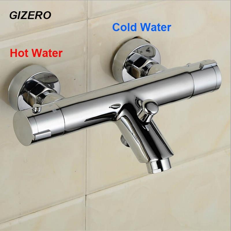 GIZERO thermostatic mixing valve bathroom shower faucet control temperature high quality chrome brass bathtub faucet ZR957