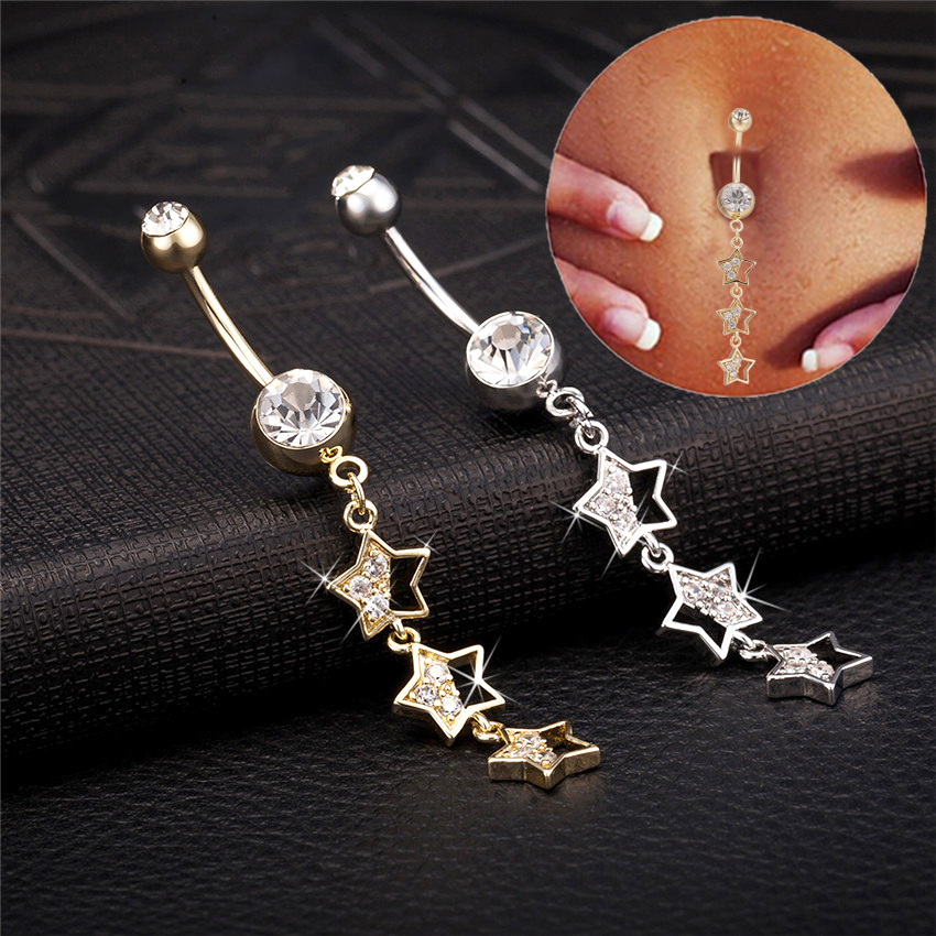 Cocktail Party Star Piercing Navel Jewelry Belly Piercing AAA White Rhinestone GoldColor Belly Button Rings