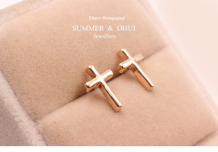 Fashion Small Earring 18k Rose Gold Cross Stud Earrings Jewelry For Women Man In From Accessories On Aliexpress
