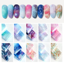 10pcs 4*20cm Galaxy Starry Sky Nail Foil Water Marble Effect Transfer Sticker Foil Paper Nail Decorations Manicure Tool