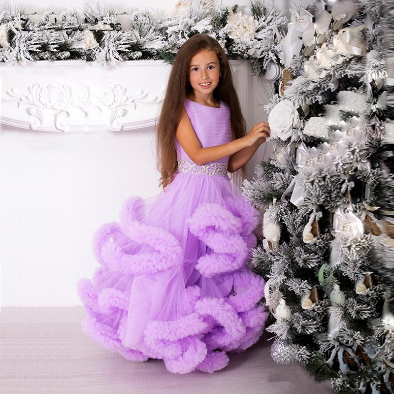 New Luxury Flower Girl Dress with Crystales Belt Cloudy Puffy Ball Gowns For Elegant Princess Any Size and Any Color Vestidos