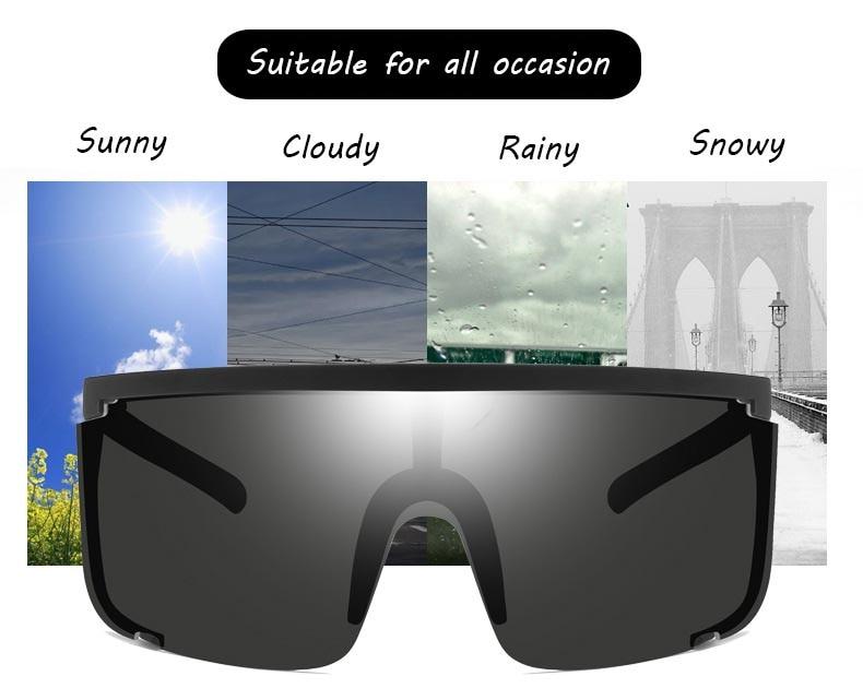 Sport Sunglasses men onepiece 2020 Women Oversize Mask Shape Shield Visor Sunglasses Women Sexy Fashion Men Flat Top Windproof