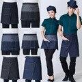 Кухонный короткий джинсовый фартук на молнии для женщин и мужчин  кофейня и Парикмахерская  ковбойский противообрастающий фартук для готов...