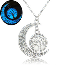 Luxury Brand Jewelry Silver Color with Tree of Life Pattern Crescent Noctilucous Glow In the dark Necklace for Unisex Gift