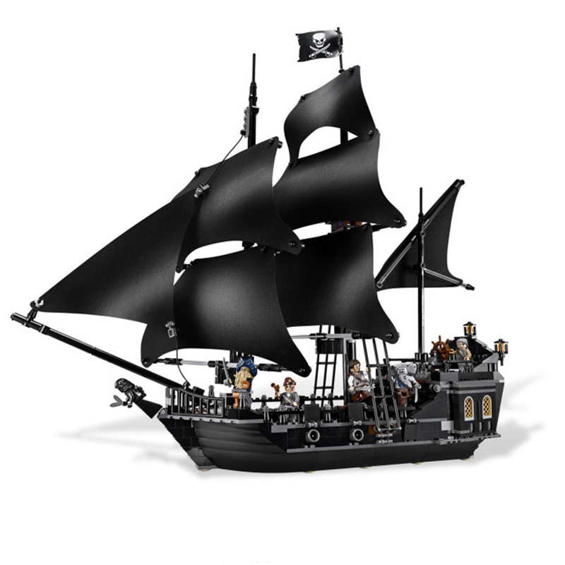 KAZI Black Pearl Caribbean Pirates Ship Building Blocks Sets Bricks Christmas Birthday Gifts DIY Toys For Children new lepin 16009 1151pcs queen anne s revenge pirates of the caribbean building blocks set compatible legoed with 4195 children