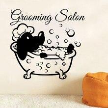 Pet Shop Decor Decalque Da Parede Do Vinil Do Cão Grooming Salon Salon Parede Arte Mural Adesivo de Parede Do Banheiro Cão de Estimação Animais de Estimação Janela cartaz RL07