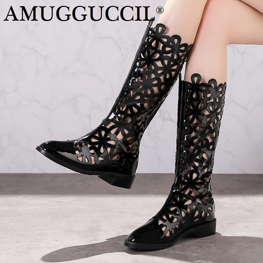 2018 New Arrival Plus Big Size 31-45 Black Zip Cut-Outs Fashion Sexy Spring Autumn Girl Females Lady Summer Women Boots X1694 2018 new plus big size 32 46 black brown gray red lace up zip cut outs sexy female lady over the knee women summer boots x1633