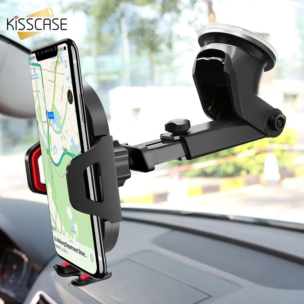 KISSCASE Car Phone Holder Windshield Mount For IPhone XR X 7 11 Air Vent Phone Car Holder Stand держатель для телефона в машину