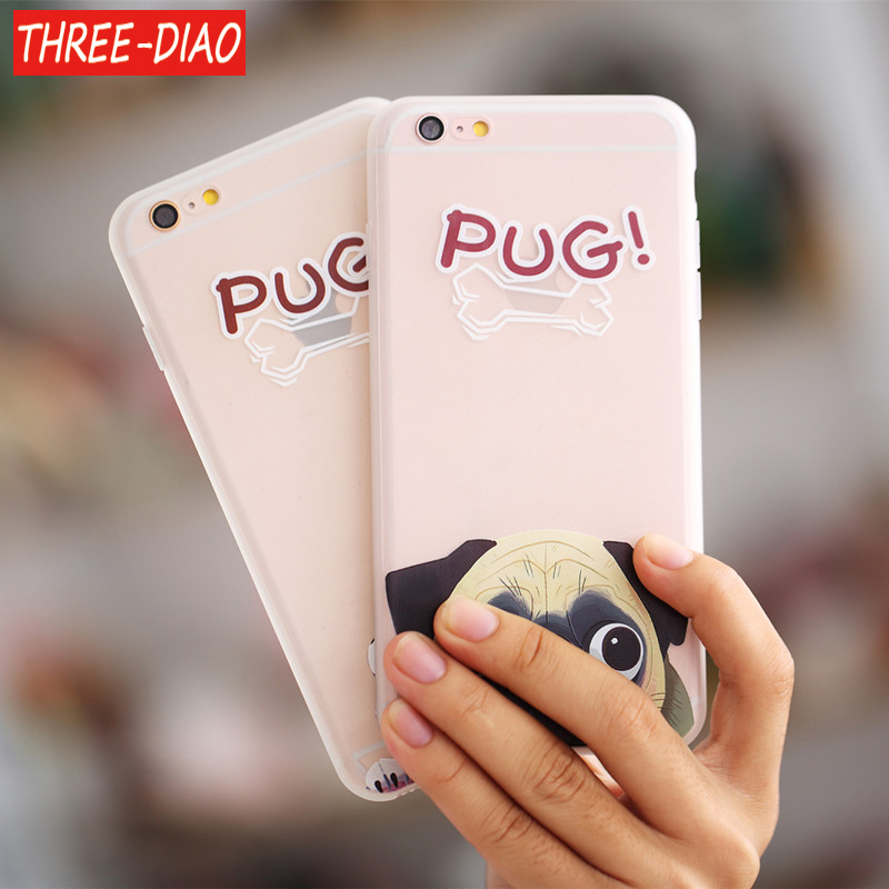 THREE-DIAO Pocket Dog TPU Phone case for iphone 7 5 5S SE For iphone 6 6s 6/7/8 plus X Funny BullDog Pug Pattern Silicone case
