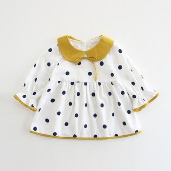 Wholesale 5pcs/lot Baby Dress Peter Pan Collar Dots Dresses for Girls Clothing 2018 Autumn Infant Clothes For Children Kids