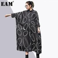 EAM 2018 New Spring Lapel Nine Part Sleeve Pockets Circel Printed Loose Big Size Long