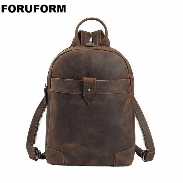 Genuine Leather Men Backpacks Casual Vintage Men Travel Bags High Quality Brand Laptop Bag Cowhide Shoulder Bag LI-1318