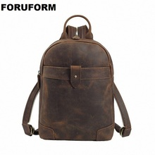 Genuine Leather Men Backpacks Casual Vintage Men Travel Bags High Quality Brand