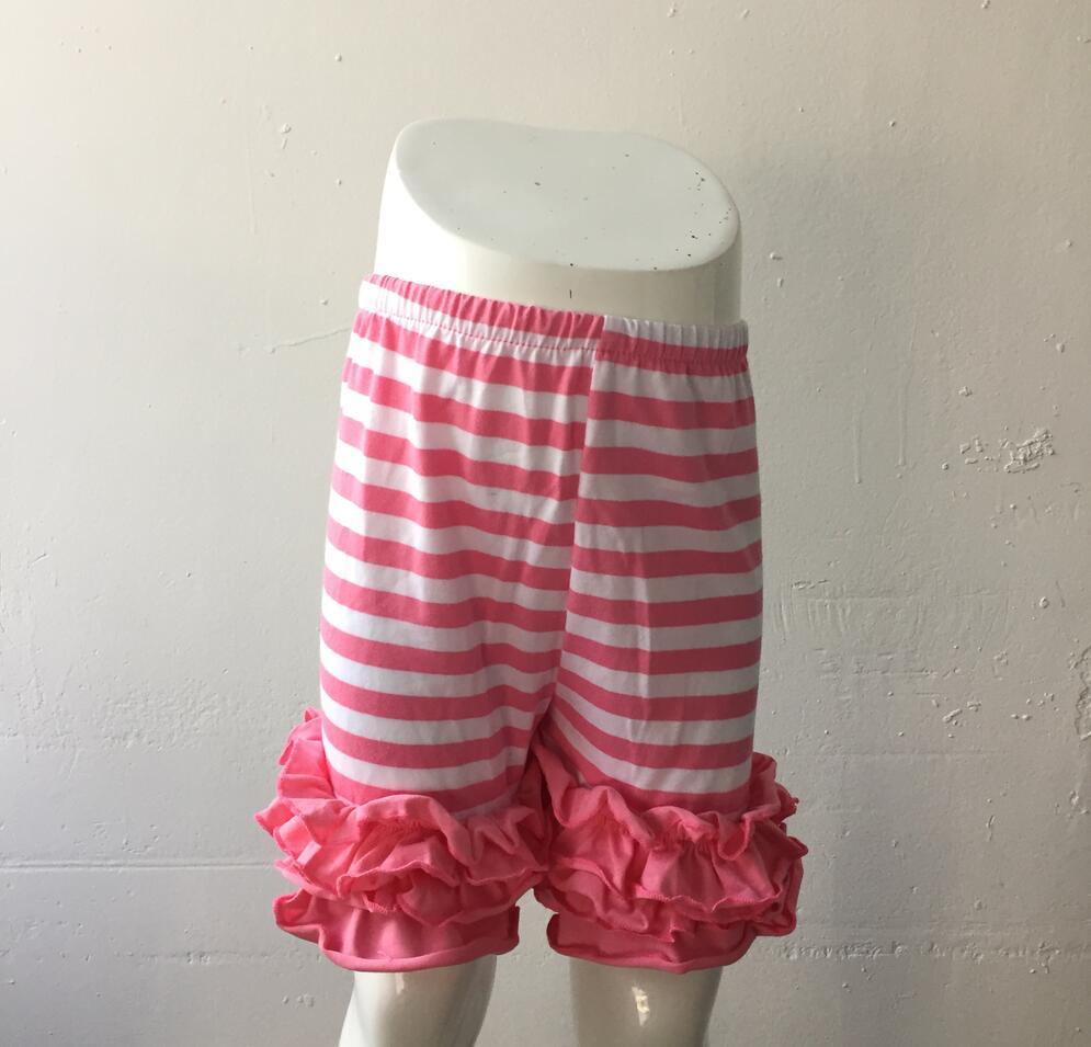 2017 Baby Heißen Verkauf Kinder Streifen Candy Farben Boutique Mädchen Rüschen Shorts Anzüge Outfits Foto Weiche Kinder Baumwolle Icing Shorts Geschickte Herstellung