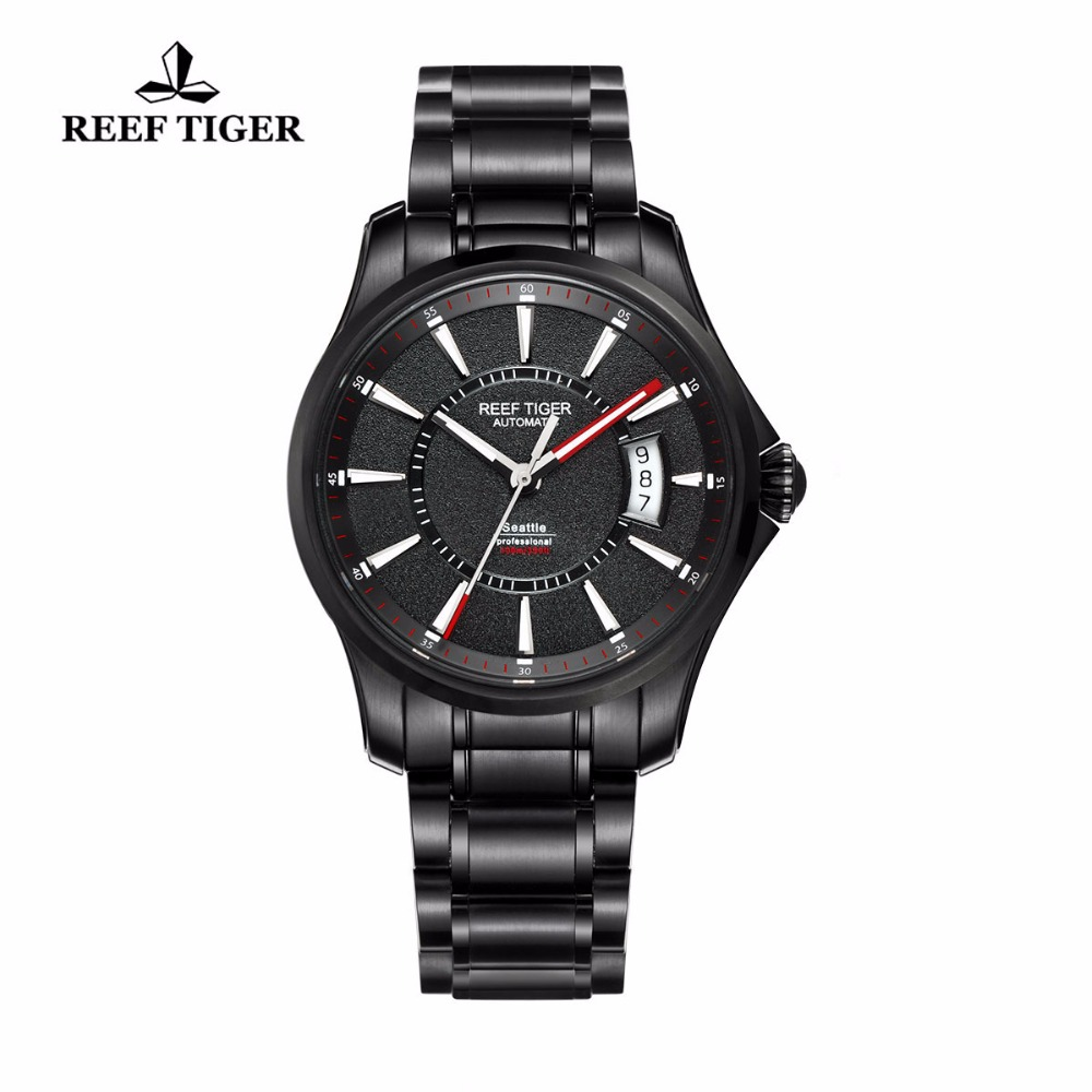 Reef Tiger/RT Watch Seattle Sports For Men Automatic Watches Super Luminous Big Date Black Steel Watches RGA166 2x yongnuo yn600ex rt yn e3 rt master flash speedlite for canon rt radio trigger system st e3 rt 600ex rt 5d3 7d 6d 70d 60d 5d