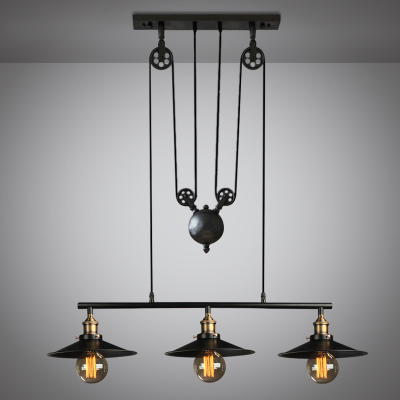 ФОТО Loft vintage black color pulley pendant lamp dinning room lamp home decoration lamp free shipping