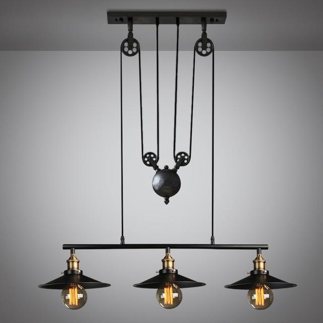 Loft vintage zwarte kleur katrol hanglamp eetkamer lamp ...