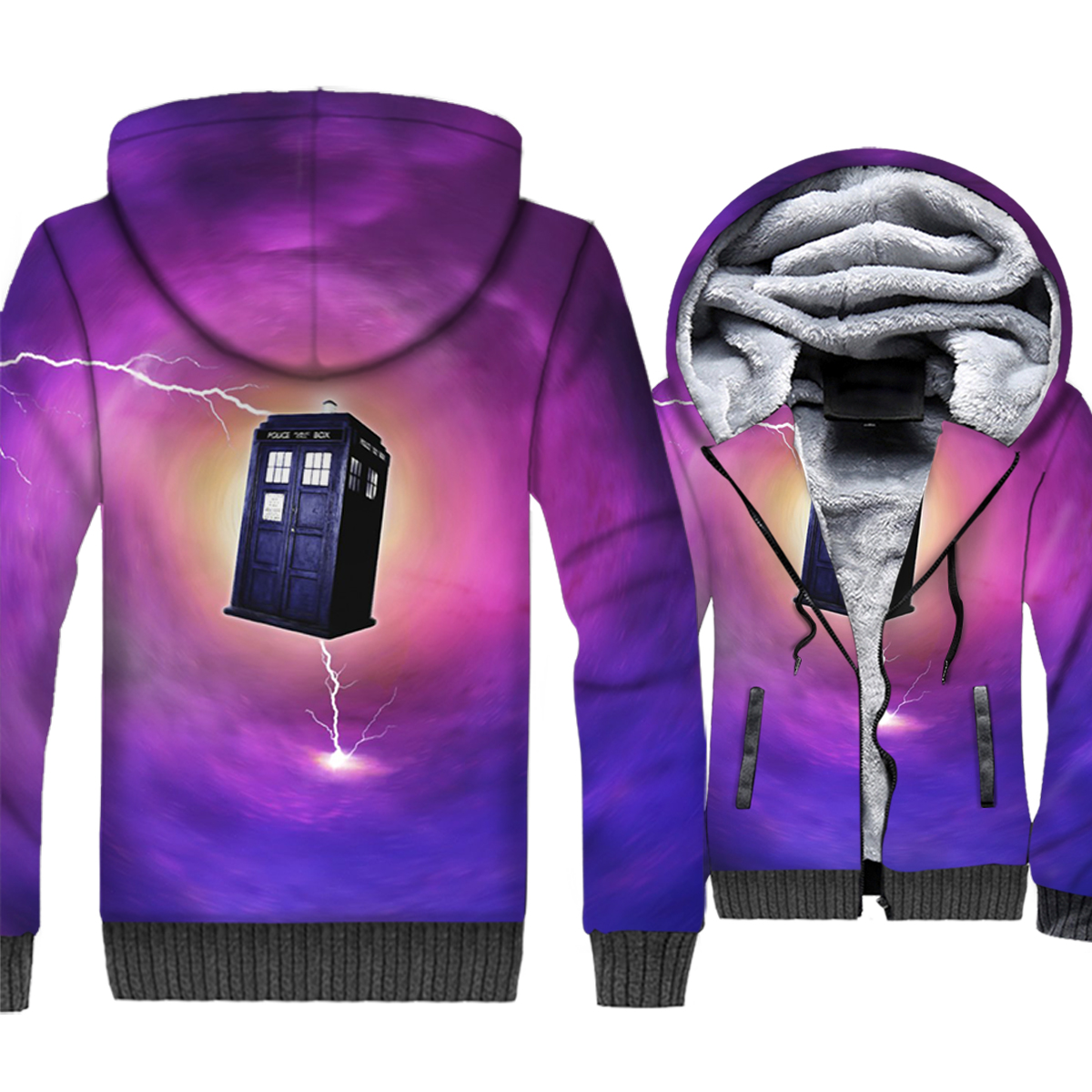 man's fitness hip-hop hooded coats 2019 winter novelty Doctor Who 3D printing jackets warm wool liner sweatshirt plus size M-5XL