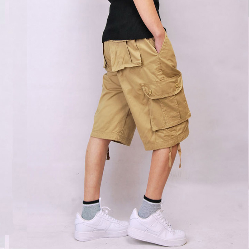 Baggy Hip pop Plus Size 30-44 Green Cotton Khaki Army Military Combat Men's Cargo Shorts Beige Multi-pocket Black