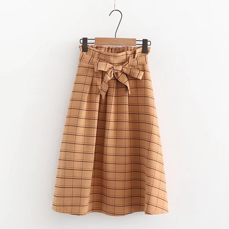 England style Retro plaid high-waist bow tie skirt mori girl 2018 spring