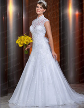 New Arrival White High Collar Wedding Dress 2015 Heavy Appliques Sleeveless Court Train  Bridal Gown With Flower VP024
