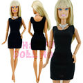 Free shipping Classic Black Dress Wedding Ball Party uniform Clothes + Necklace For Barbie Doll Silkstone Model Toys Collection
