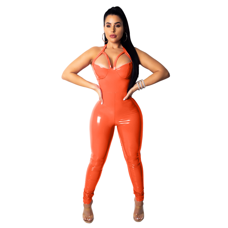 5a78f47090e ... Neon Pink PU Leather Sexy Women Jumpsuit Halter Backless Bodycon  Bandage Romper One Piece Outfit Club ...
