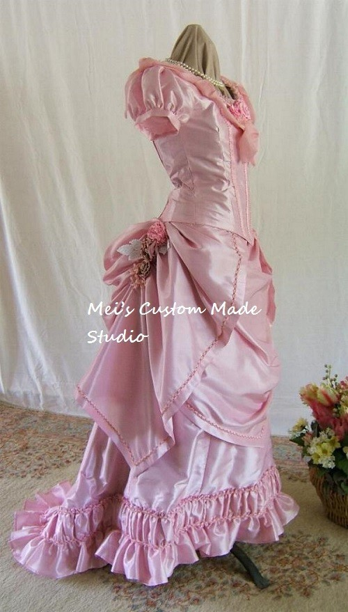 18th Era Princess Elizabeth Reproduction Pink Silk Taffeta Victorian Bustle Ball Gown/Th ...