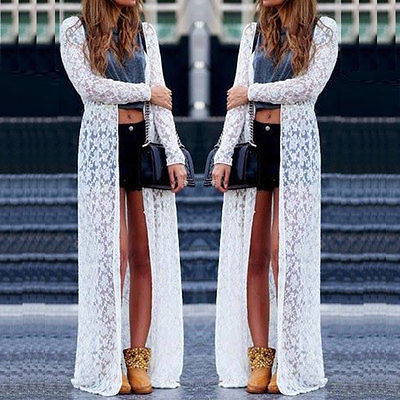 New Loose Women Boho Lace Floral Sheer Maxi Dress Long Cardigan ...