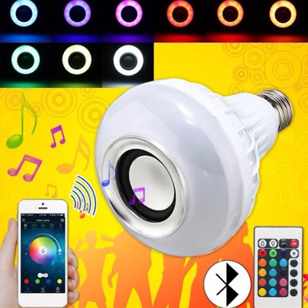 Wireless Bluetooth Remote Control Mini RGB Smart Audio Speaker 24 LED E27 Music Bulb Colorful Music Playing Lighting New цена 2017