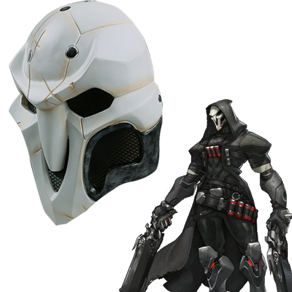High Quality Over watch Game Mask PVC Cosplay Reaper Mask Helmet Halloween Reaper Party Mask (2)