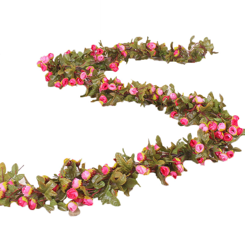 Artificial Flower Rose Rattan Wall Hanging Vine Silk Flower Wedding Home Decor