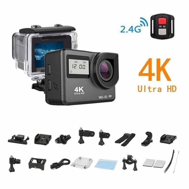"4K Action Camera Wifi 2.0 ""Layar HD Penuh Mini Helm Tahan Air Olahraga DV Kamera Remote Control"