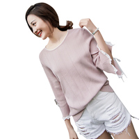 Women Spring Knitted Sweaters Lace Up Design Three Quarter Sleeve Loose Pullover Female Summer Casual Tops