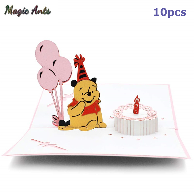 Admirable 10 Pack Happy Birthday Card Bear 3D Pop Up Cards Birthday Gift Funny Birthday Cards Online Inifofree Goldxyz