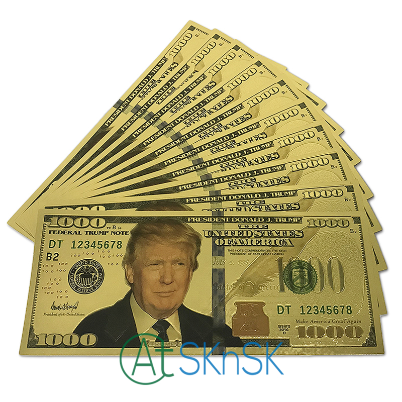 10pcs/lot Donald Trump US Dollar Gold Banknote Set 24k Gold Plated 1000 USD Banknotes Gold Foil Bill