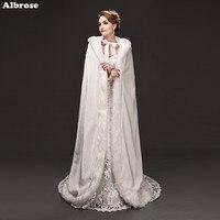 1 5 Meters Beige Long Elegant Wedding Hooded Cloaks Winter Wedding Coat Faux Fur Winter Wedding