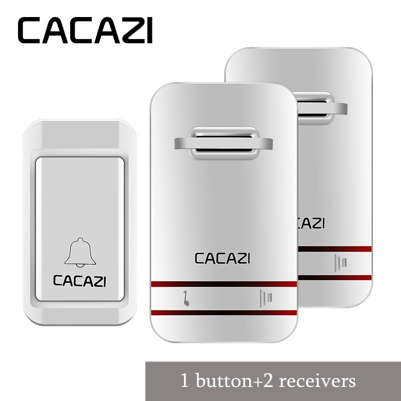 CACAZI Wireless DoorBell No Battery Led Light Doorbell 100-240V Door Bell With Waterproof Push Button+2 EU plug Receivers cacazi wireless cordless doorbell remote door bell chime one button and two receivers no need battery waterproof eu us uk plug