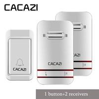 CACAZI Wireless DoorBell No Battery Led Light Doorbell 100 240V Door Bell With Waterproof Push Button