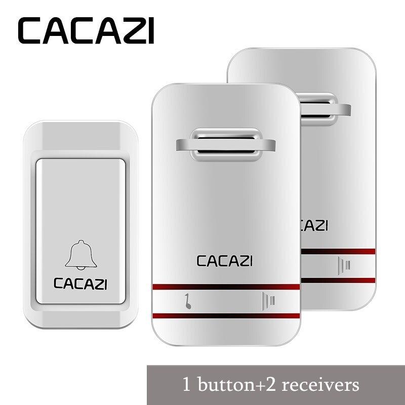 CACAZI inalámbrico timbre autoalimentado ninguna batería Led luz botón impermeable UE plug receptores inicio inalámbrico campana 38 campanas