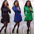 2016 Nueva Moda de verano y otoño mujeres sueltan Vestido sexy club de vestido de las mujeres casual manga larga roja de mini azul negro vestidos