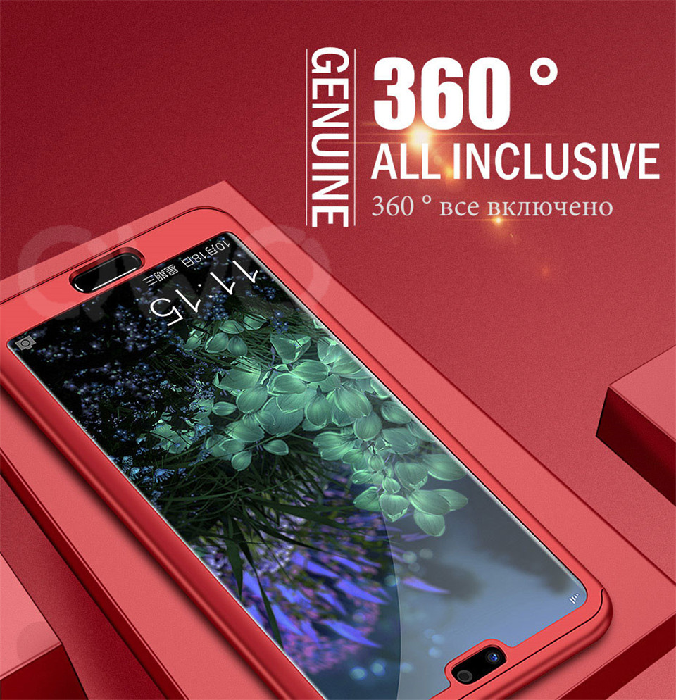 360 Degree Full Protective Phone Case For Huawei P20  P20 Lite P20 Pro Cover Case For Huawei P20 Lite P10 P10 Lite P10 Plus Mate 10 Lite Mate 10 Pro Matte Shell Tempered Glass 1