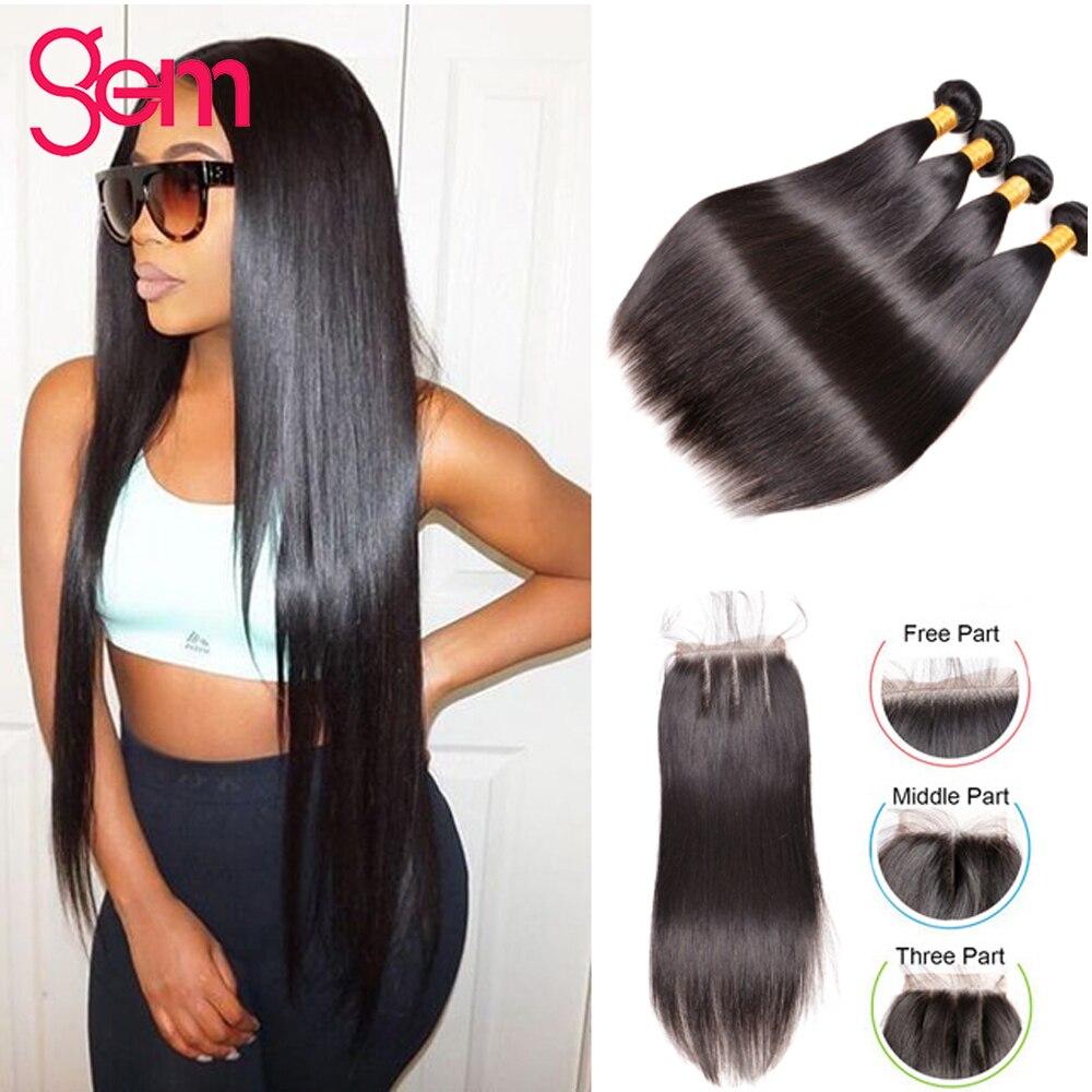 Peruvian Straight Hair Bundles With Closure Human Hair Weave 3 4 Bundles With Closure Gem Beauty