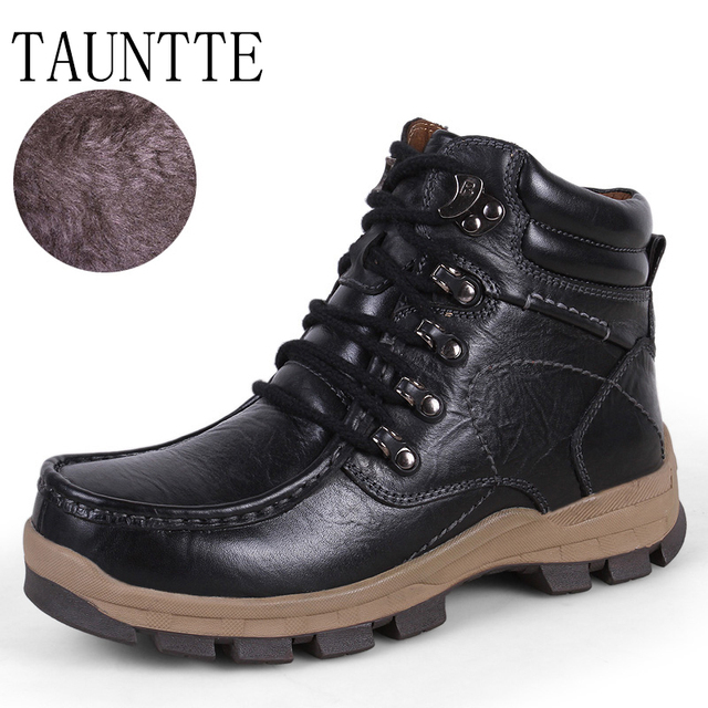 Tauntte Winter Genuine Leather Ankle Boots Men Outdoor Hiking Boots With Fur Plus Size
