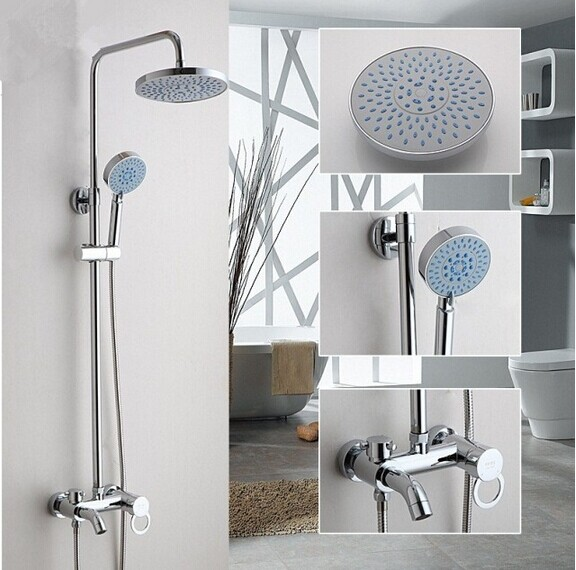 Bathroom shower set faucet Shower mixer Rainfall chorme brass shower set with 8 inch Pressure air hand shower gappo classic chrome bathroom shower faucet bath faucet mixer tap with hand shower head set wall mounted g3260