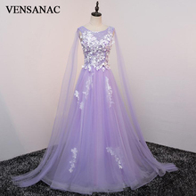VENSANAC 2018 A Line Flowers O Neck Crystal Long Evening Dresses Elegant Party Lace Appliques Backless Prom Gowns