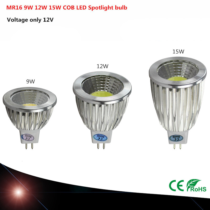 LED COB Ultra Bright Dimmable 9w 12W 15W 12V MR16 LED Bulbs Spotlight COB MR16 Led Lamp CE/RoHS Warm/Pure/Cool White LIGHTING