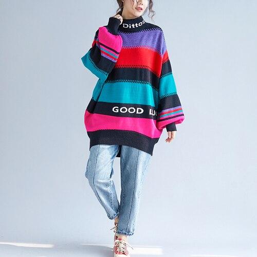 798b50f2d7 F-JE-Automne-Hiver-style-Cor-en-Femmes-manches -Longues-pais-Pulls-Chandail-couleur-Ray-Col.jpg