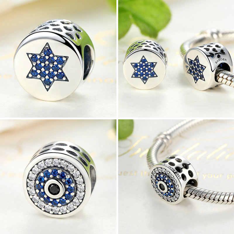 BISAER 925 เงินคริสตัลสีฟ้าตารอบลูกปัด Fatima Hamsa Hand Charms พอดี Charm เงิน 925 สร้อยข้อมือเดิมเครื่องประดับ