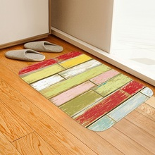 3D simulation Colorful wood grain floor mat customize Bedside carpet Non-slip crawling Living room bedroom